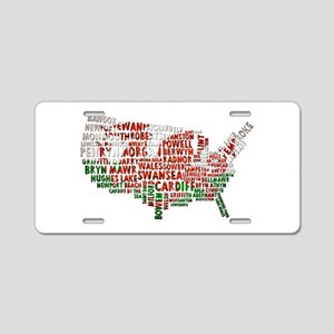 Welsh Place Names USA Map Aluminum License Plate